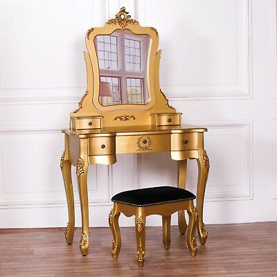 French Style Gold Dressing Table Makeup Desk Vanity With Mirror And Stool Set • 300£