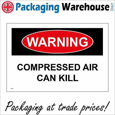 Warning Compressed Air Can Kill Sign Ws732 Safety Sticker Rigid Indoor Outdoor • 2.95£