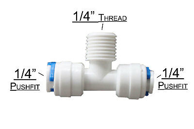 T Connector 1/4  Pipe X 1/4  Thread X 1/4  Pipe Water Filter RO Fitting Diverter • 1.99£