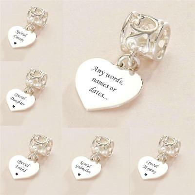 Heart Charm With Engraving, Personalised, Engraved, Sterling Silver, European • 19.99£
