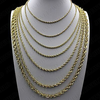 $239.99 • Buy Real 10K Yellow Gold 2mm - 6mm Diamond Cut Rope Chain Pendant Necklace 16 - 30
