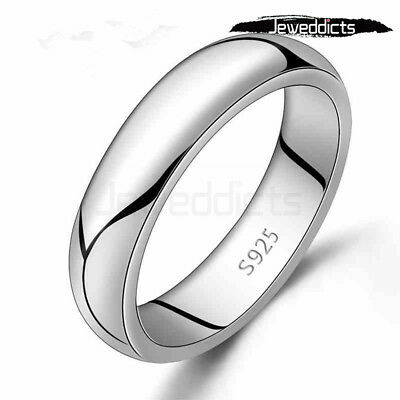 AU4.99 • Buy Ring Plain Band Classic Sterling Silver Plated Wedding Engagement Men Women