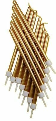 £2.65 • Buy 12 Metallic Gold Tall Candles & Holders 10cm Birthday Party Cake Topper