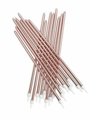 £3.39 • Buy 16 Extra Tall Metallic Rose Gold Candles & Holders 18cm Birthday Cake Topper