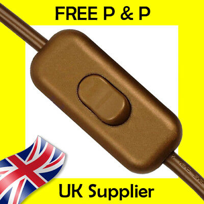 Gold In Line Switch Low Profile Torpedo Design 2 Or 3 Core Flex Ideal For Lamps • 3.98£