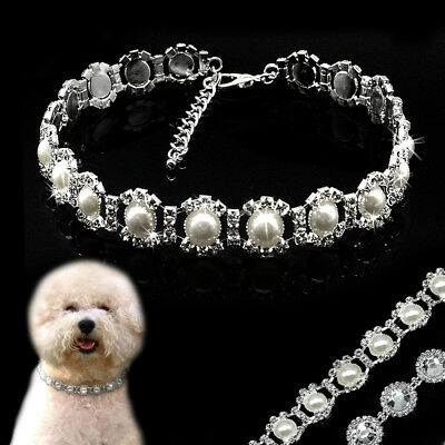 £4.99 • Buy Dog Necklace Collar Rhinestone Pearl Crystal Small Dogs Cat Chihuahua Accessory