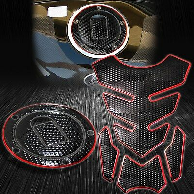 $29.88 • Buy 4PC Perforated Black Tank Pad+Fuel Cap Cover 04-05 Ninja ZX-10R/6R/9R Chrome Red