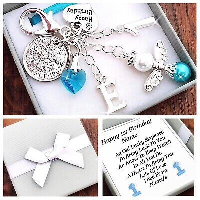 LUCKY SIXPENCE FIRST 1ST BIRTHDAY Gift BOY/GIRL PERSONALISED INITIAL ,GIFT BOX • 4.45£