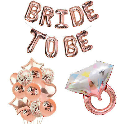 AU7.99 • Buy Rose Gold Bridal Shower Decorations   Bride To Be Banner Engagement Ring Balloon