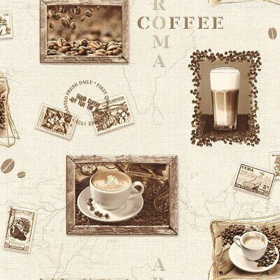 Rasch Deco Relief Wallpaper 855104 - Kitchen Aroma Coffee Map Stamps Typography • 12.99£