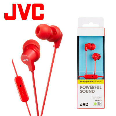 JVC HA-FR15-R Red Gumy Stereo Bass Headphone Earphones For IPod IPhone Android • 6.49£