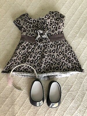 "American Girl Doll 18"" Savannah Outfit Leopard Print Dress Black Shoes Headband • 14.82£"