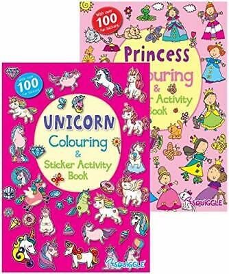 2x UNICORN PRINCESS A4 CHILDRENS COLOURING STICKER ACTIVITY LEARNING BOOK BOOKS • 3.79£