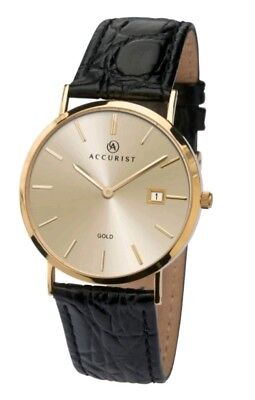 £799 • Buy Accurist Mens 9k Yellow Gold Black Leather Strap Date Watch Champagne Dial BNIB