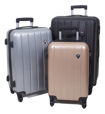 Lightweight 3 Piece Travel Luggage Wheel Trolley Suitcase Bag Hard Shell ABS • 59.95£
