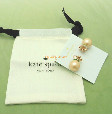 $ CDN42.29 • Buy NWT Authentic Kate Spade Its A Tie Bow Pearl Reversible Earrings Rose Gold/Clear
