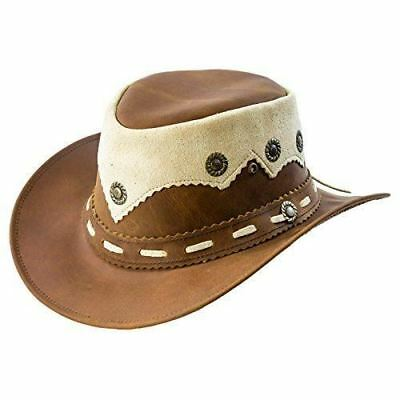 Real Oily Leather Cowboy Bush Hat Western Aussie Style Leather Hat • 26.97£