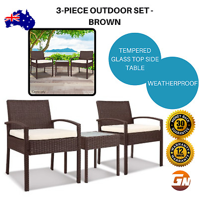 AU174.17 • Buy 3-piece Outdoor Patio Glass Top Table Veranda Setting 2 Chairs Seating - Brown