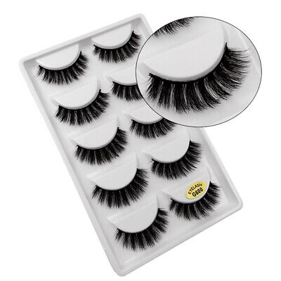 100% Mink 5Pairs  Natural Thick False Fake Eyelashes Eye Lashes Makeup Extension • 3.89£