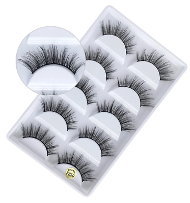 F850 Mink 5Pairs  Natural Thick False Fake Eyelashes Eye Lashes Makeup Extension • 3.89£