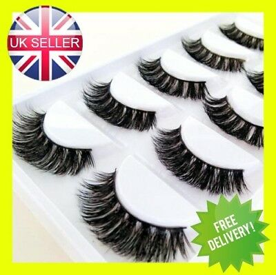 100% Mink 5Pairs  Natural Thick False Fake Eyelashes Eye Lashes Makeup Extens 3D • 2.99£