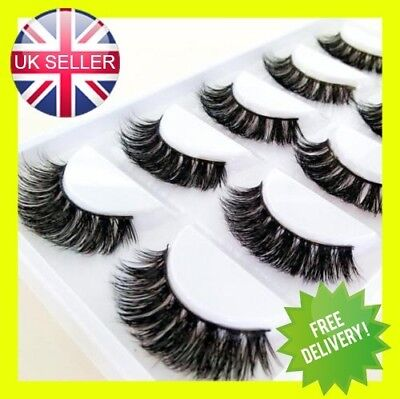 100% Mink 5Pairs  Natural Thick False Fake Eyelashes Eye Lashes Makeup Extens 3D • 4.99£