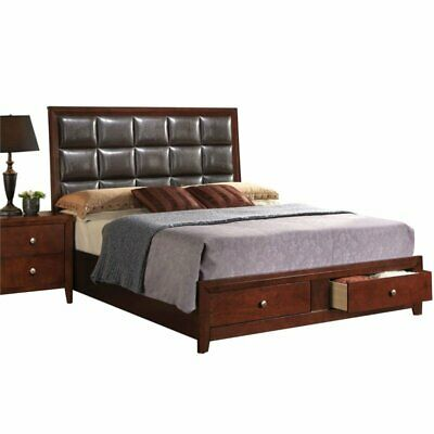 $526.58 • Buy ACME Ilana Queen Bed With Storage In Brown PU And Brown Cherry