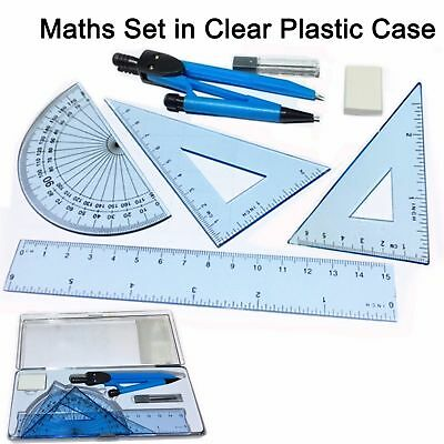 £2.24 • Buy Maths Set Clear Plastic Case Geometry Ruler Protector Compass Squares Eraser Kit