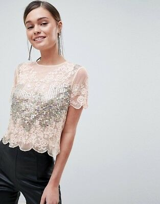 AU42.95 • Buy NEW - ASOS -Design T-Shirt With All Over Sequins Lace Detail Soft Pink - RRP $80