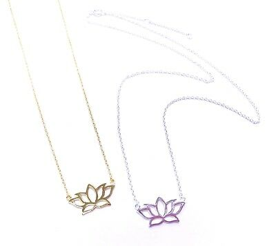 $ CDN23.03 • Buy 925 Sterling Silver PLAIN CUTOUT LOTUS FLOWER - YOGA PENDANT NECKLACE