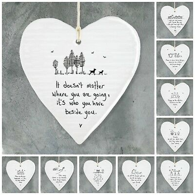 East Of India White Porcelain Message Hearts, Family / Friends Gifts  • 5.95£