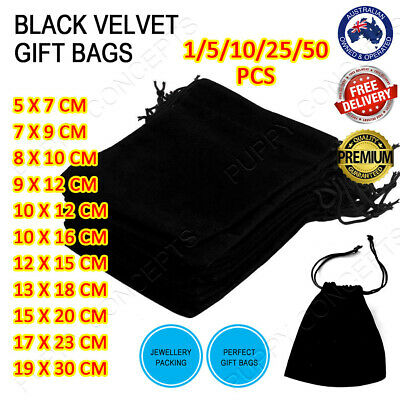 AU13.99 • Buy Black Velvet Pouch Drawstring Bags Wedding Favours Gift Party Jewellery Packing