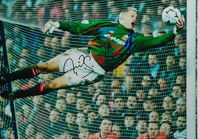 "PETER SCHMEICHEL SIGNED 16""x20"" MANCHESTER UNITED FOOTBALL PHOTO COA & PROOF • 79.99£"
