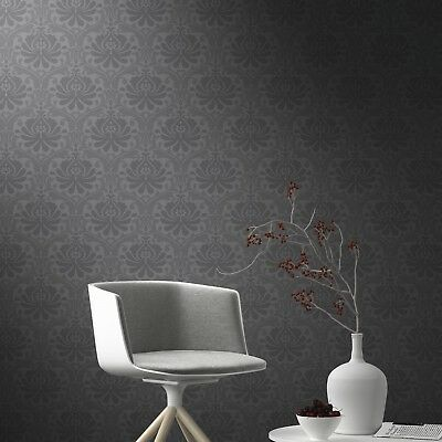Rasch High Quality Freja Baroque Black Floral Damask Dark Wallpaper 897609 • 6.99£