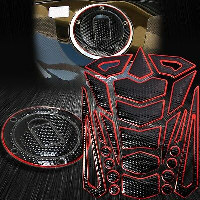 $31.88 • Buy 16PC Perforate Black Tank Pad+Fuel Cap Cover 04-05 Ninja ZX-10R/6R/9R Chrome Red