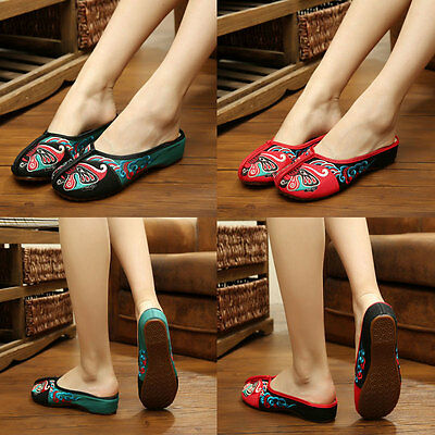 Chinese Opera Embroidery Old Beijing Casual Walking Flat Slippers Womens Shoes • 12.98£