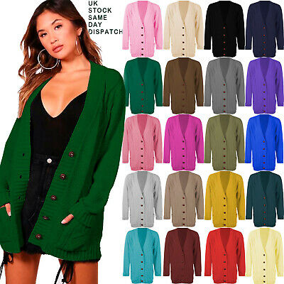 £12.99 • Buy Womens Ladies Chunky Cable Knit Cardigan Button Long Sleeves Grandad Cardigan