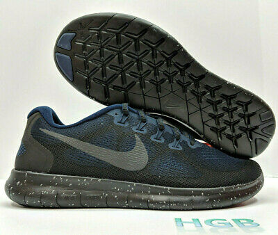 e70af4758ab74 Nike Free RN 2017 Shield Mens Triple Black Obsidian Running Training AA3760- 001 • 64.95