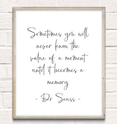 Dr Seuss Memory Typography Print Poster Unframed Quote Home Family Love • 4.49£