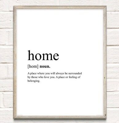 Home Definition Typography Print Poster Family Cosy Unframed Home Quote • 3.75£