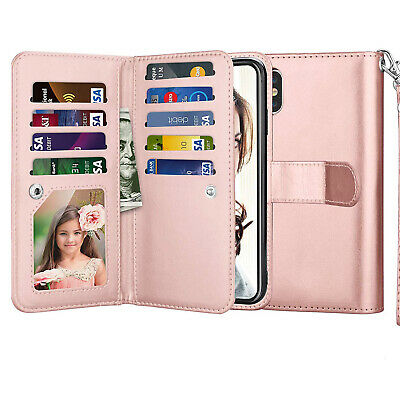 AU27.54 • Buy Rose Gold Leather Wallet Case With Credit Card Slots For IPhone Xs X 7 8 Plus S9