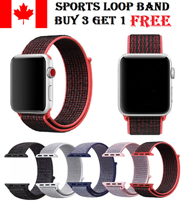 $ CDN9.99 • Buy Sports Loop Band For Apple Watch Nylon Woven Strap For IWatch Series 5 4 3 2 1