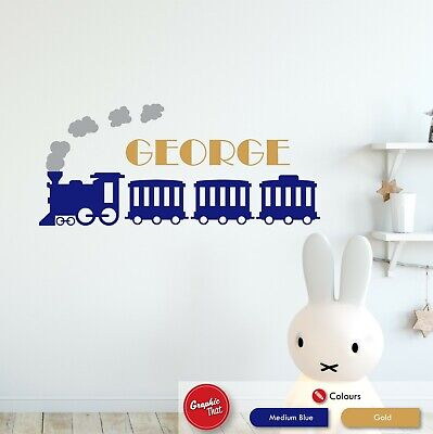 Personalised Childrens Name Steam Train Wall Sticker Nursery Vinyl Bedroom Decal • 5.99£