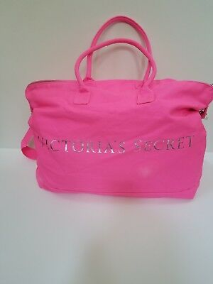 f3f9e4a8e26a Victoria Secret Hot Pink Canvas Overnight Weekender Duffle Bag • 39.99$