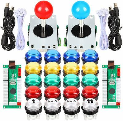 $39.99 • Buy 2 Player Arcade DIY Kit Part USB Encoder To PC Game Joystick 5V LED Push Buttons