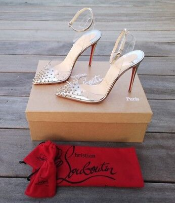d92b75e44376   Christian Louboutin   Spikoo 100 Transparent Leather Gold Studded Spike  Heels • 595.00