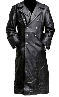 Mens German Classic Ww2 Officer Military Uniform Black Leather Trench Coat • 64.99£