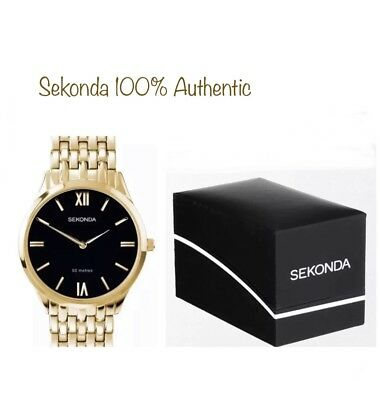 Sekonda Mens Gold Plated Bracelet & Black Dial  Watch 1611 With Gift Box New • 24.99£