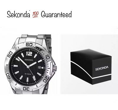 Sekonda Men's Quartz Watch With Two Tone Dial & Bracelet 1171 With Gift Box New • 24.99£