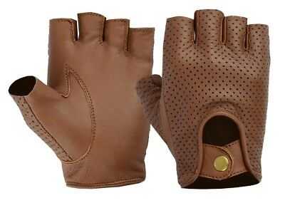 New Retro Soft Mesh Leather Men Fingerles Driving Cycle Gloves Unlined Chauffeur • 6.99£